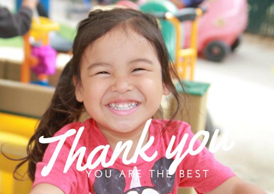 Smiling preschooler saying thank you